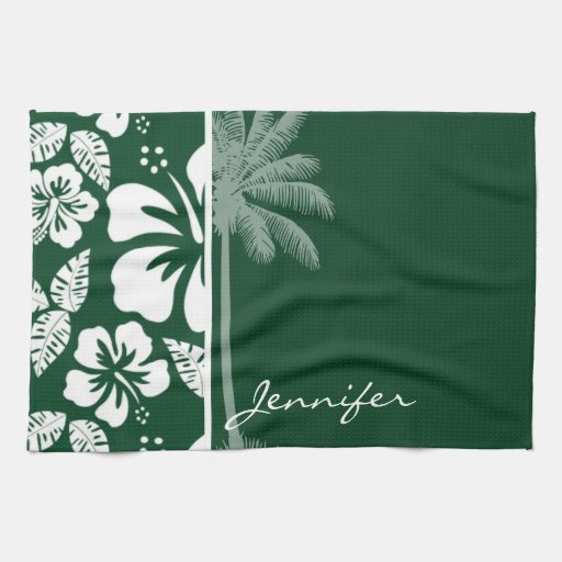 Forest Green Kitchen: Forest Green Hawaiian Tropical Hibiscus; Palm Kitchen