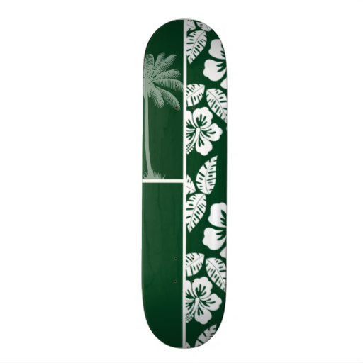 Forest Green Hawaiian Tropical Hibiscus; Palm Skate Board