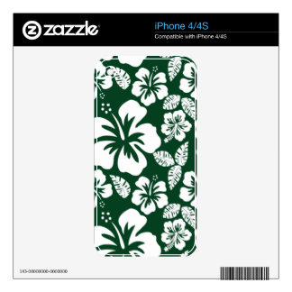 Forest Green Hawaiian Tropical Hibiscus Skin For The iPhone 4S