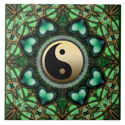 Forest Green Hearts Gold Yin Yang Ceramic Tile