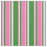[ Thumbnail: Forest Green, Hot Pink, and Light Cyan Pattern Fabric ]