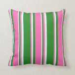 [ Thumbnail: Forest Green, Hot Pink, and Light Cyan Pattern Throw Pillow ]