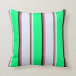 [ Thumbnail: Forest Green, Hot Pink, Lavender, Green & Black Throw Pillow ]