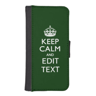 Forest Green KEEP CALM AND Edit Text Wallet Phone Case For iPhone SE/5/5s