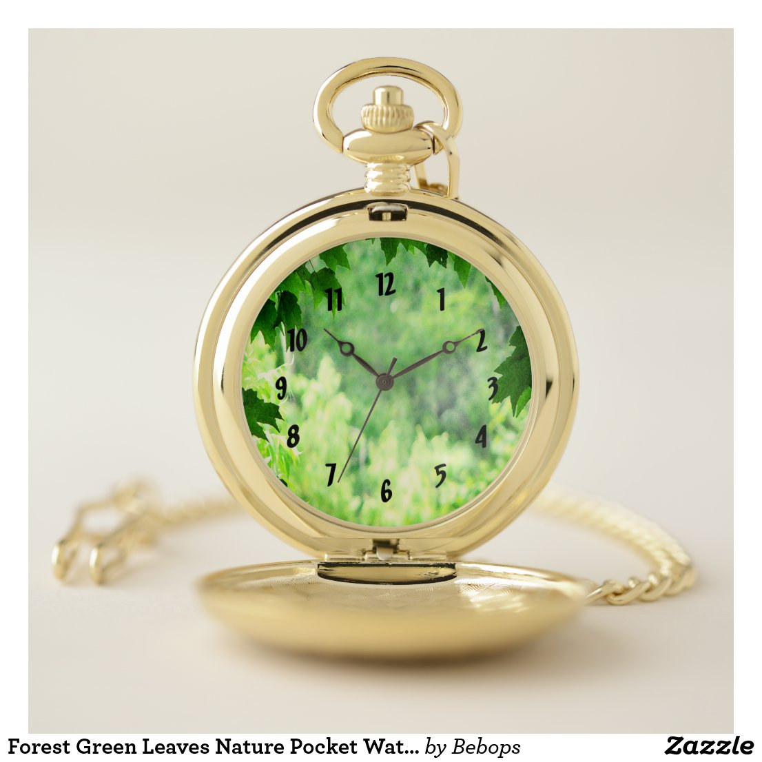 Forest Green Leaves Nature Pocket Watch