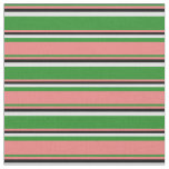 [ Thumbnail: Forest Green, Light Coral, Black & Lavender Lines Fabric ]