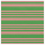[ Thumbnail: Forest Green & Light Coral Colored Pattern Fabric ]