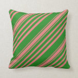 [ Thumbnail: Forest Green & Light Coral Colored Pattern Pillow ]
