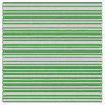 [ Thumbnail: Forest Green & Light Gray Colored Lined Pattern Fabric ]