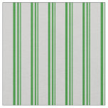 [ Thumbnail: Forest Green & Light Gray Colored Striped Pattern Fabric ]