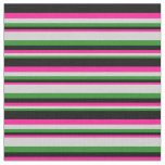 [ Thumbnail: Forest Green, Light Gray, Deep Pink, and Black Fabric ]