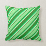 [ Thumbnail: Forest Green, Light Green, Bisque & Green Lines Throw Pillow ]