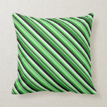 [ Thumbnail: Forest Green, Light Green, White, and Black Lines Throw Pillow ]