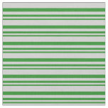 [ Thumbnail: Forest Green & Light Grey Lines/Stripes Pattern Fabric ]
