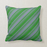 [ Thumbnail: Forest Green & Light Slate Gray Stripes Pillow ]