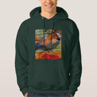 Forest green men's hoodie Running Horse painted