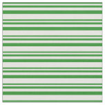 [ Thumbnail: Forest Green & Mint Cream Stripes Pattern Fabric ]