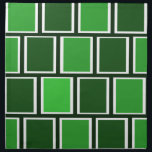 """Forest Green Modern Geometric Squares Pattern Napkin<br><div class=""""desc"""">Modern design will add some hip factor to your dining room or kitchen! Design features a forest green background with a geometric pattern of squares in light and darker shades of the background color, trimmed in white. A modern design to update your homes decor or add a splash of color...</div>"""