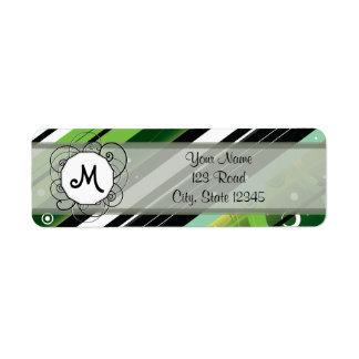 Forest Green Modern-Retro Stripes with Monogram Label