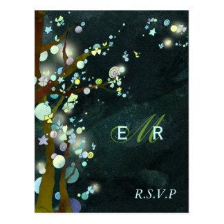 Forest Green Monogram Tree Wedding RSVP 4 25x5 6 Post Cards