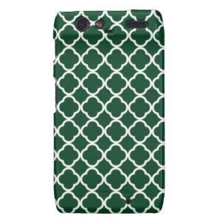 Forest Green Moroccan Quatrefoil Droid RAZR Covers