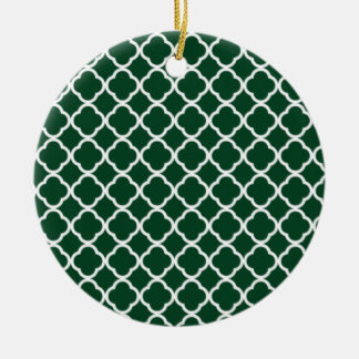 Forest Green Moroccan Quatrefoil Double-Sided Ceramic Round Christmas Ornament