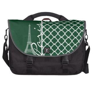 Forest Green Moroccan Quatrefoil; Paris Laptop Bag