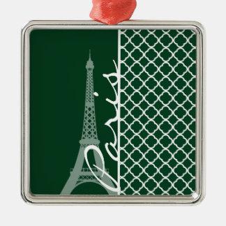 Forest Green Moroccan Quatrefoil; Paris Square Metal Christmas Ornament