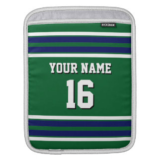 Forest Green Navy Team Jersey Custom Number Name iPad Sleeve