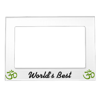 Forest Green Om or Aum ॐ.png Photo Frame Magnet