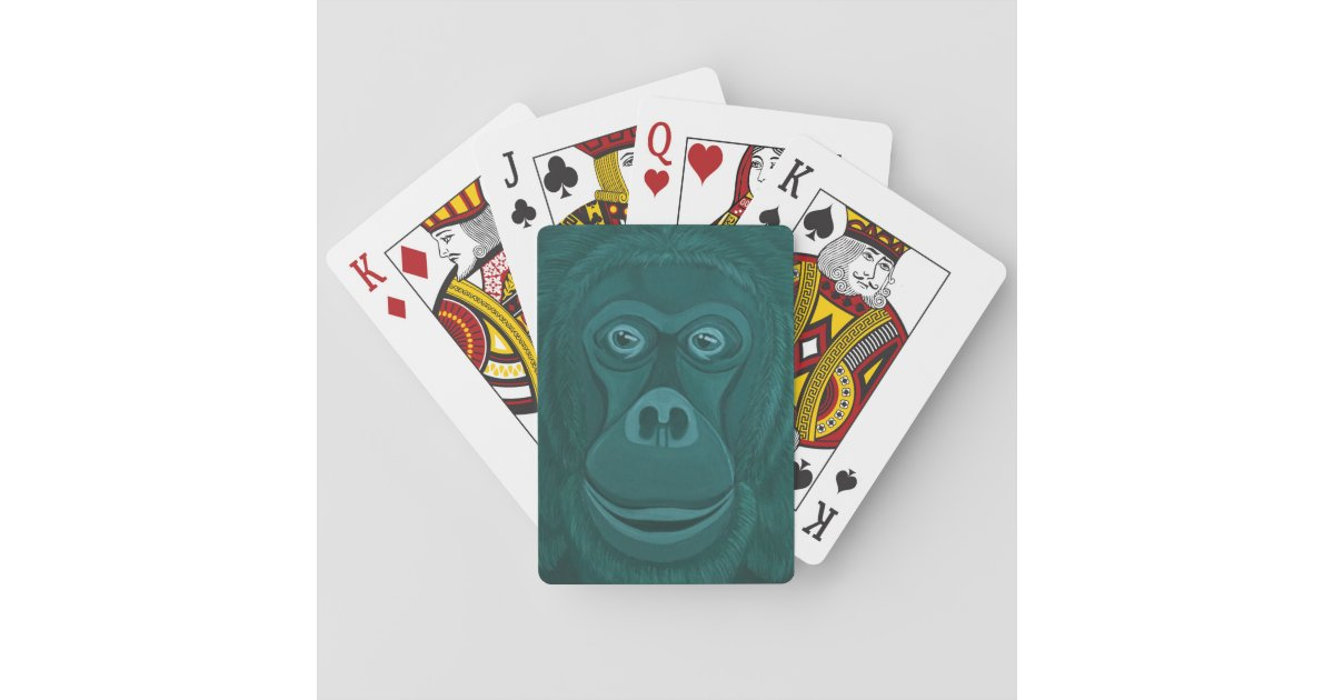 Forest Green Orangutan Playing Cards