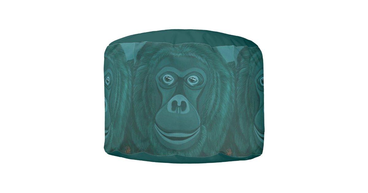 Forest Green Orangutan Pouf