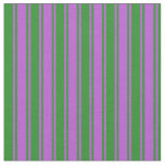 [ Thumbnail: Forest Green & Orchid Colored Lines Pattern Fabric ]