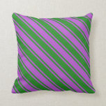[ Thumbnail: Forest Green & Orchid Colored Lines Pattern Pillow ]