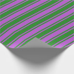 [ Thumbnail: Forest Green & Orchid Colored Lines Pattern Wrapping Paper ]
