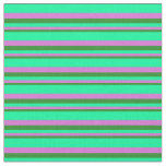 [ Thumbnail: Forest Green, Orchid & Green Pattern of Stripes Fabric ]