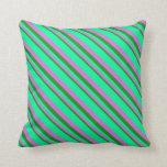 [ Thumbnail: Forest Green, Orchid & Green Pattern of Stripes Throw Pillow ]