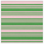 [ Thumbnail: Forest Green & Pink Lined Pattern Fabric ]