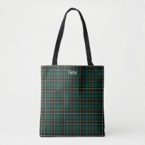 Forest Green Plaid MacAlpine Tartan Monogram Tote Bag