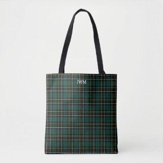 Forest Green Plaid MacAlpine Tartan Monogram Tote Bag
