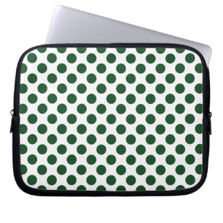 Forest Green Polka Dots Computer Sleeve