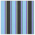 [ Thumbnail: Forest Green, Purple, Light Sky Blue, Black, White Fabric ]
