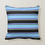 [ Thumbnail: Forest Green, Purple, Light Sky Blue, Black, White Throw Pillow ]