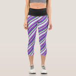 [ Thumbnail: Forest Green, Purple, Orchid & Light Cyan Pattern Leggings ]