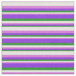 [ Thumbnail: Forest Green, Purple, Orchid & Light Cyan Pattern Fabric ]