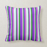 [ Thumbnail: Forest Green, Purple, Orchid & Light Cyan Pattern Throw Pillow ]