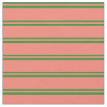 [ Thumbnail: Forest Green & Salmon Lines/Stripes Pattern Fabric ]