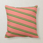 [ Thumbnail: Forest Green & Salmon Lines/Stripes Pattern Pillow ]