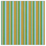 [ Thumbnail: Forest Green, Sky Blue, and Dark Goldenrod Lines Fabric ]