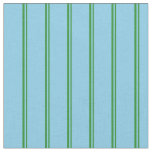 [ Thumbnail: Forest Green & Sky Blue Colored Stripes Pattern Fabric ]